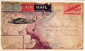 Envelope painted by Stephen Douglas during World War II.