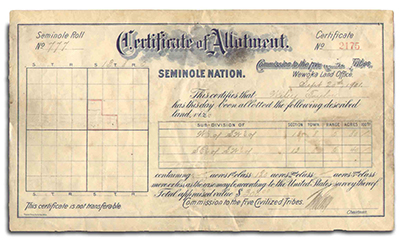 Seminole certificate of Allotment