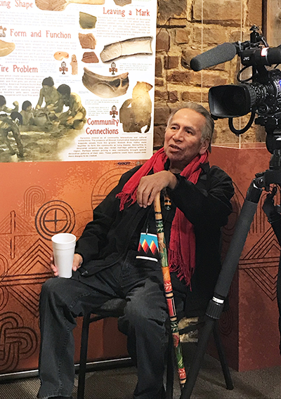 Former Seminole Chief Enoch Kelly Haney visits during the shooting of a documentary at the Seminole Nation Museum on Native American flutes.