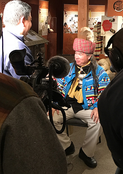 Assistant Chief Johnson visits with a film crew at the Seminole Nation Museum Feb. 1, 2019.