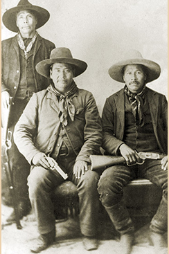 Portrait of three Seminole Lighthorsemen