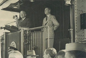 President Truman makes a whistle-stop tour through Wewoka, OK.